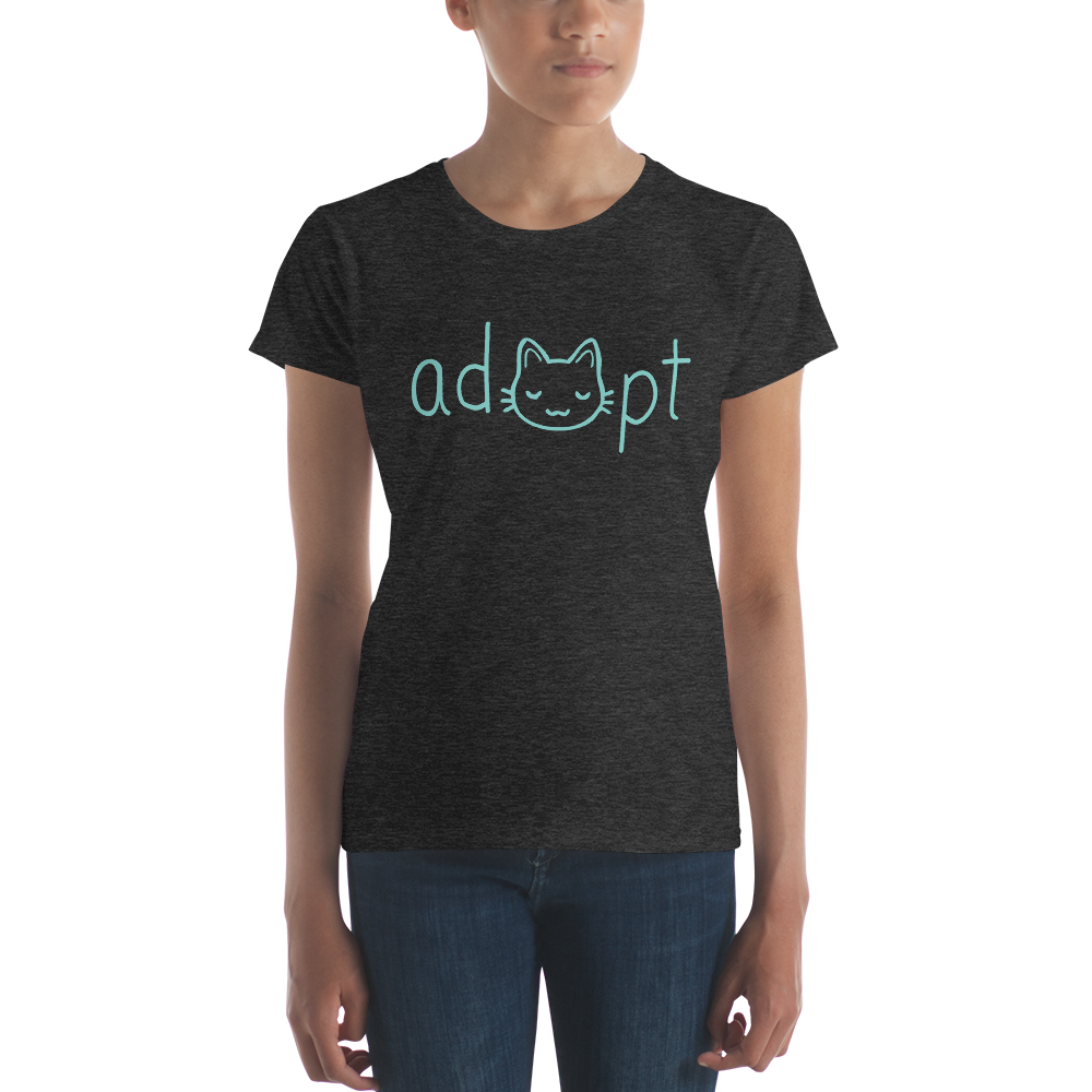 Women's Blue Adopt Cat T-Shirt