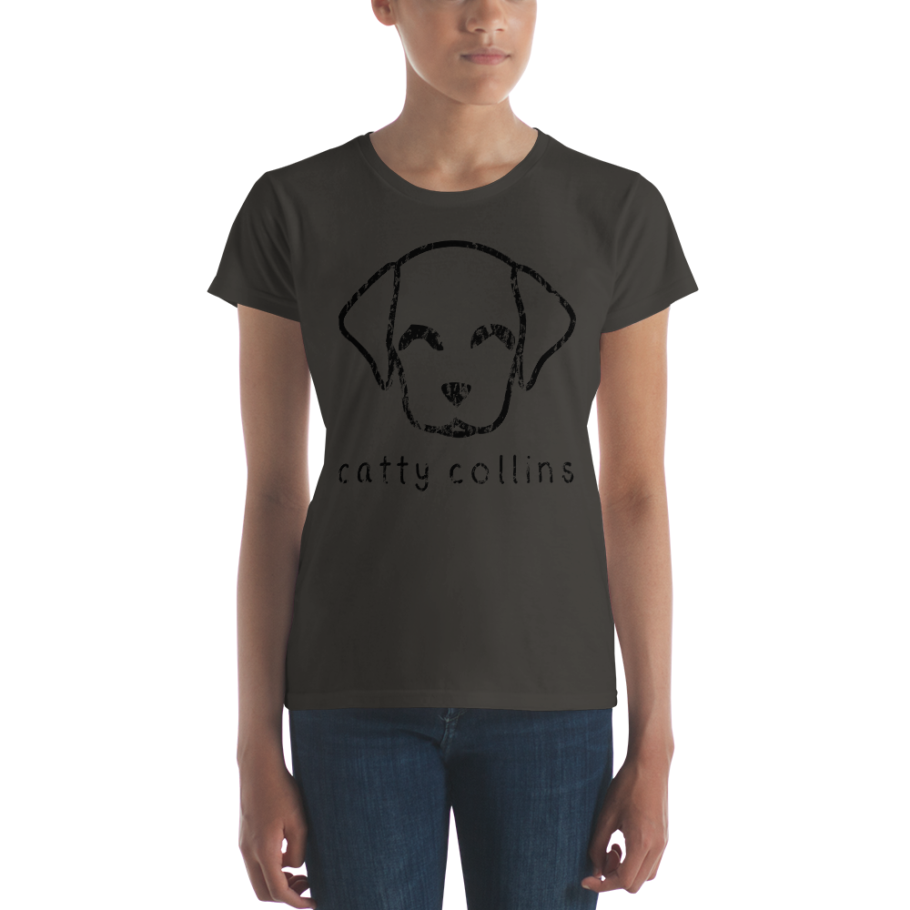 Women's Black Distressed Logo Dog T-Shirt