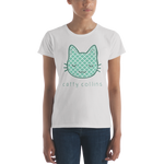 Women's Teal Pattern Cat T-Shirt