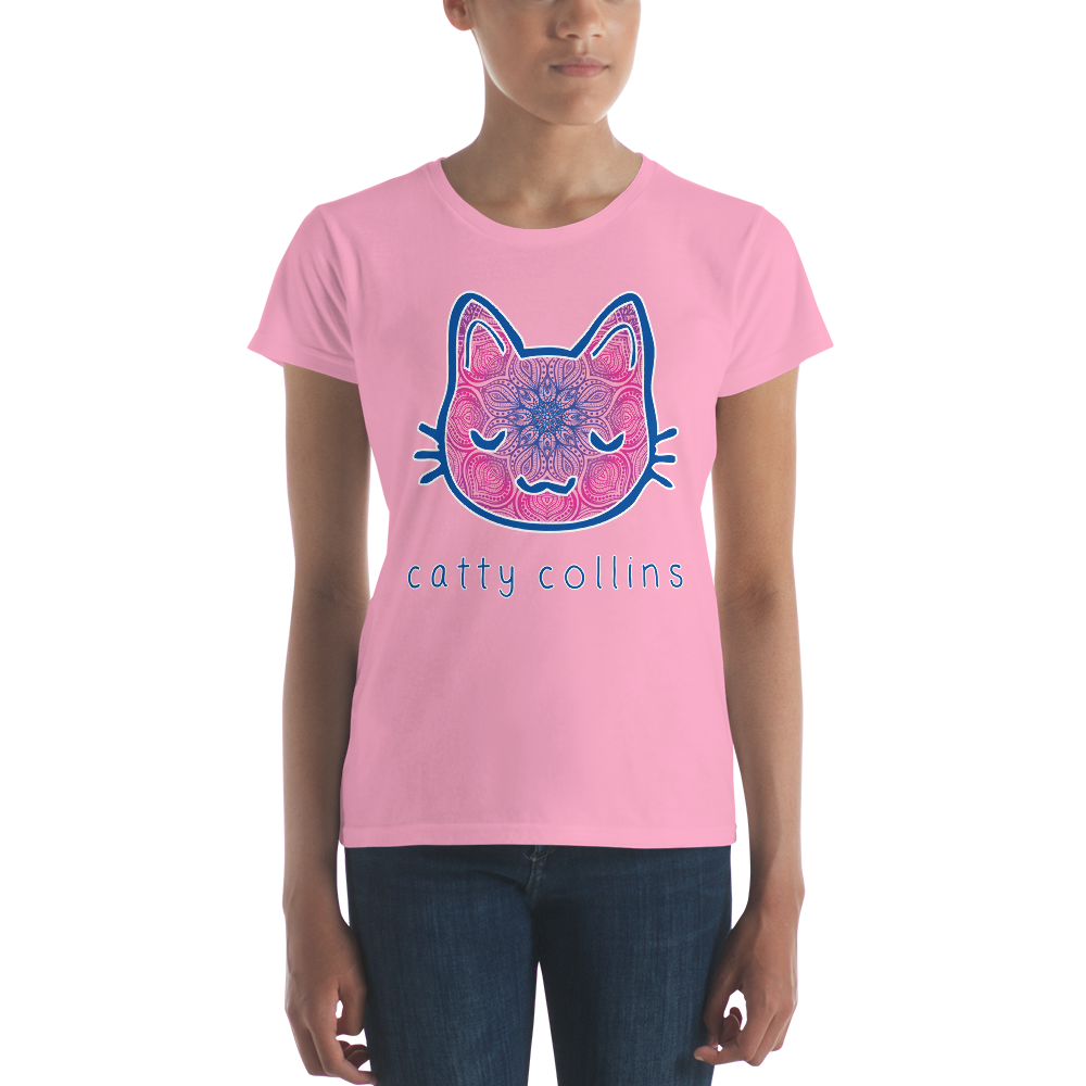 Women's Pink Purple Mandala Cat T-Shirt