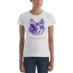 Women's Purple Pink Tie Dye Cat T-Shirt