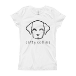 Girls Black Distressed Logo Dog T-Shirt