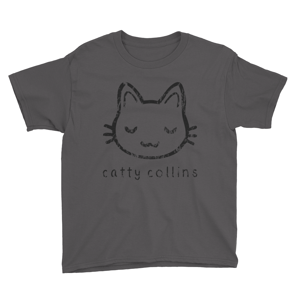 Boys Black Distressed Logo Cat T-Shirt