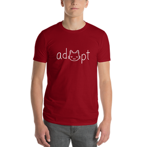Men's White Adopt Cat T-Shirt