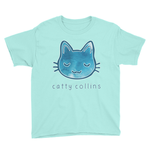 Boys Blue Paint Splotches Cat T-Shirt