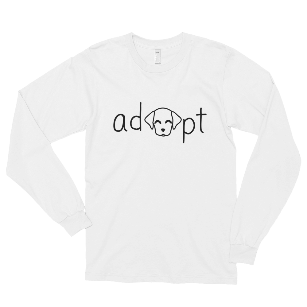 Women's Black Adopt Dog Long Sleeve Shirt
