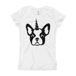 Girls Black Frenchiecorn Dog T-Shirt