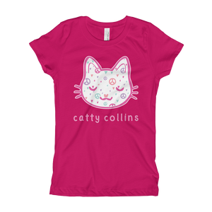 Girls Peace & Love Cat T-Shirt