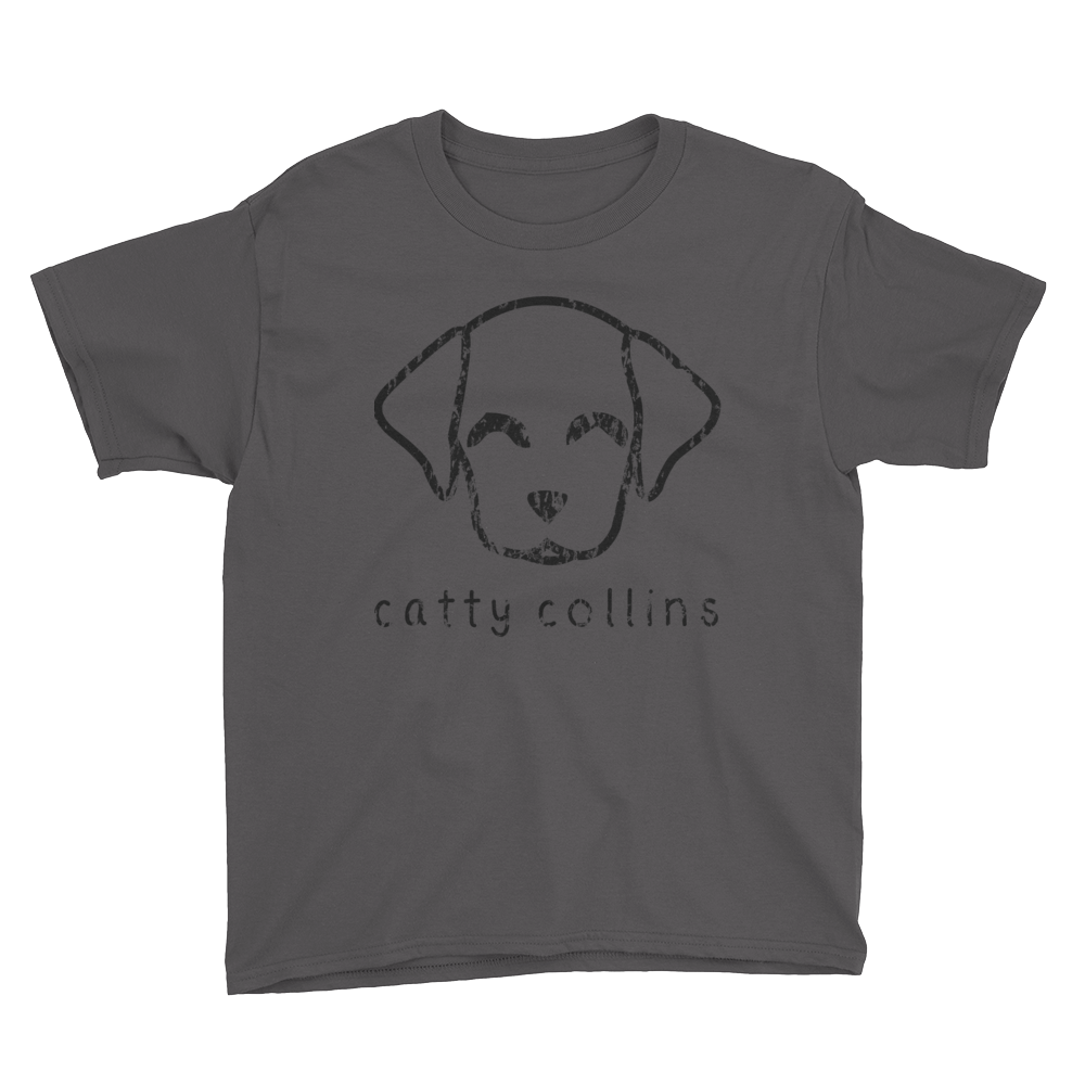 Boys Black Distressed Logo Dog T-Shirt