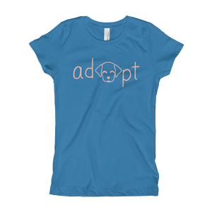 Girls Pink Adopt Dog T-Shirt