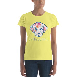 Women's Watercolor Floral Dog T-Shirt