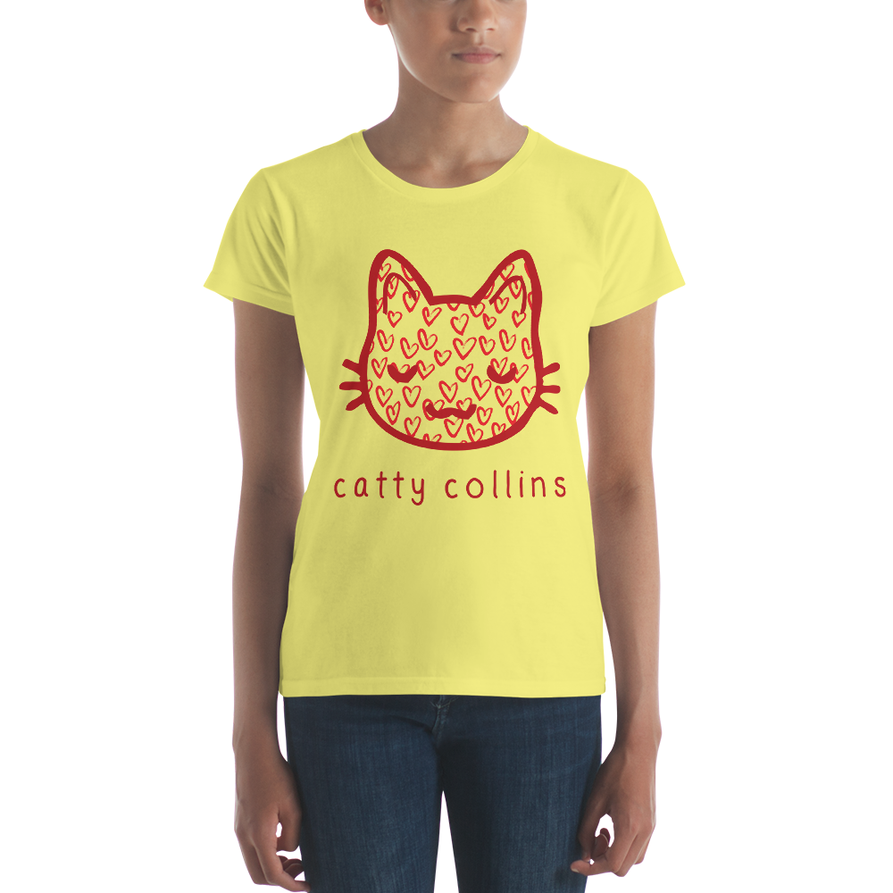 Women's Painted Hearts Cat T-Shirt