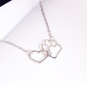 Dog Paw and Heart Necklace