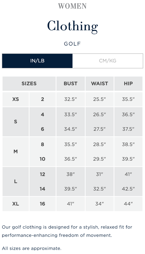 Clothing Size Chart Birdie Town