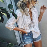 Lace Ruffled Blouse Top - beginnings-lifestyle
