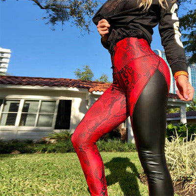 New Snake Skin Print Red Leggings Patchwork PU Leather Fitness Leggings Women High Waist Stretchy Skinny Push Up Leggings - beginnings-lifestyle