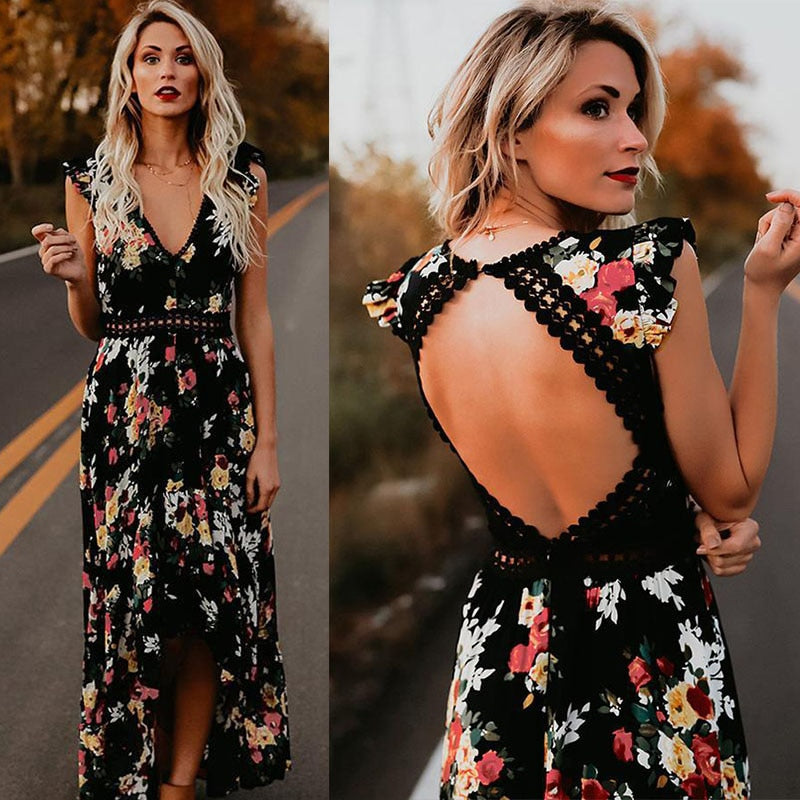 Floral Print V-Neck Hem Dresses - beginnings-lifestyle
