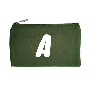 Green Pouch White Initial