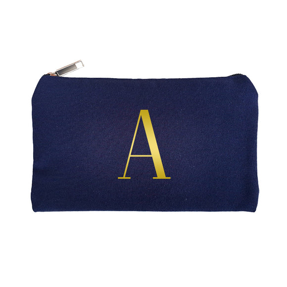 Navy Blue Pouch Gold Initial