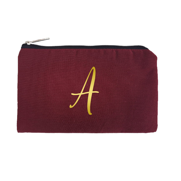 Maroon Pouch Gold Initial