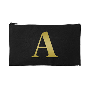 Black Pouch Gold Initial
