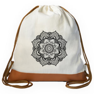Black Mandala Graphic Drawstring bag