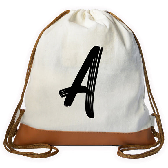Brushed Initial Drawstring bag