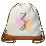 Pastel Ink Splatter Initial Drawstring bag