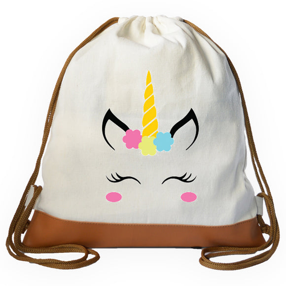 Unicorn Face Graphic Drawstring bag
