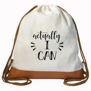 """I CAN"" Graphic Drawstring bag"
