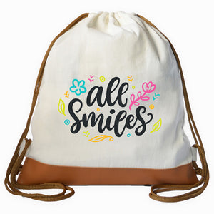 """ALL SMILES"" Graphic Drawstring bag"