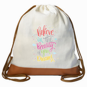 """BELIEVE-DREAMS"" Graphic Drawstring bag"
