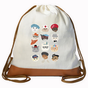 Cat Faces Graphic Drawstring bag