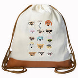 Dog Faces Graphic Drawstring bag