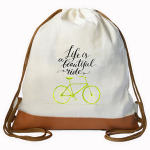 """LIFE BEAUTIFUL RIDE"" Graphic Drawstring bag"