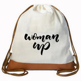"""WOMAN UP"" Graphic Drawstring bag"
