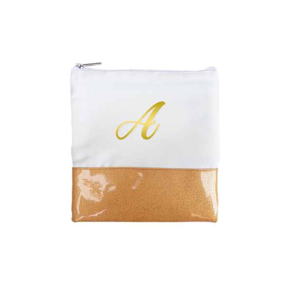 Glitter Initial Pouch - Gold