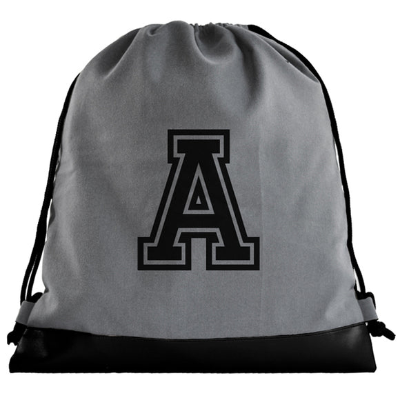 Sporty Initial Grey Drawstring bag