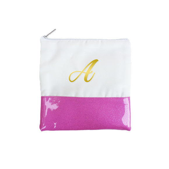 Glitter Initial Pouch - Pink