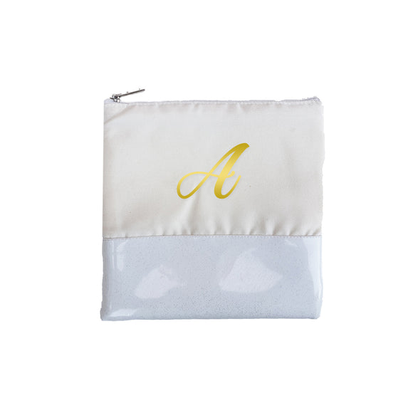 Glitter Initial Pouch - White