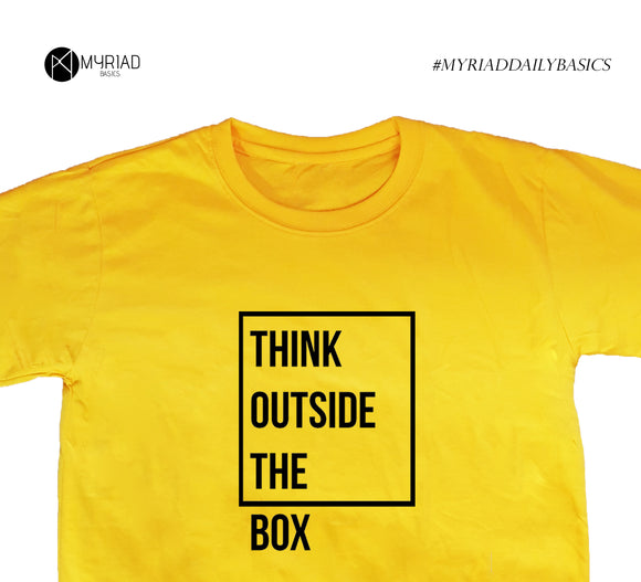 Round Neck T-Shirt - Think Outside The Box (Yellow)