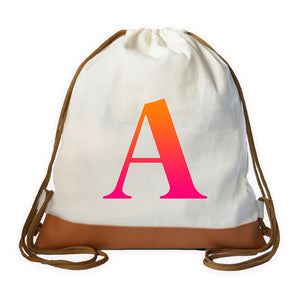 Gradient (Orange-Pink) Initial Drawstring bag