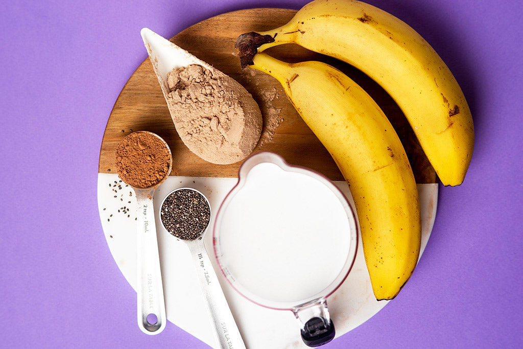 Chocolate Banana Protein Shake - Ingredients.