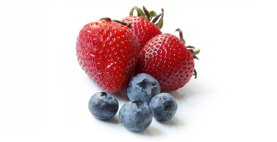Delicious strawberries and blueberries.