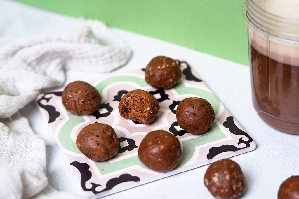 Nut Butter Chocolate Protein Balls - Suggested Presentation.