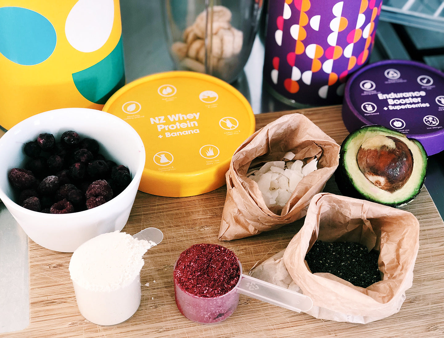 Ingredients for your post workout smoothie bowl.