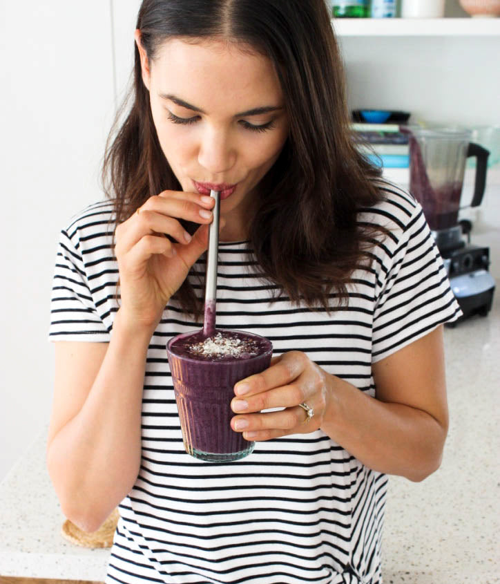Renee Brown enjoying her morning berry booster creation