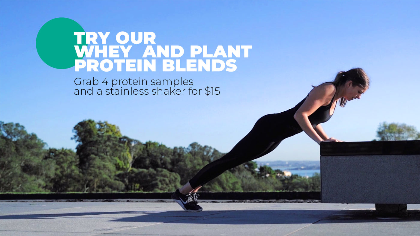 Try our whey and plant protein blends.