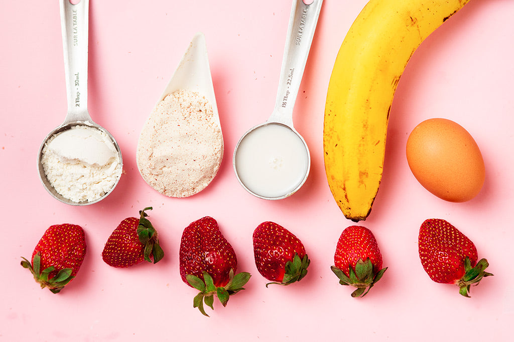Strawberry And Banana Protein Pancakes - Ingredients.
