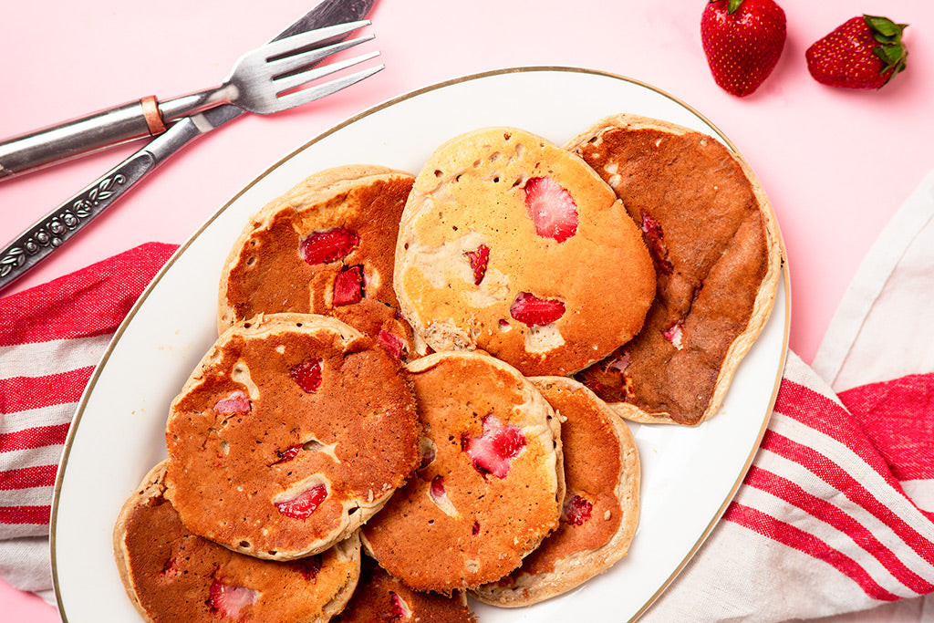 Strawberry And Banana Protein Pancakes - Suggested Presentation.